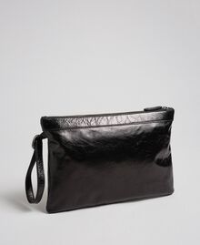 Leather pochette with decorative buckle Black Woman 192TO823H-04