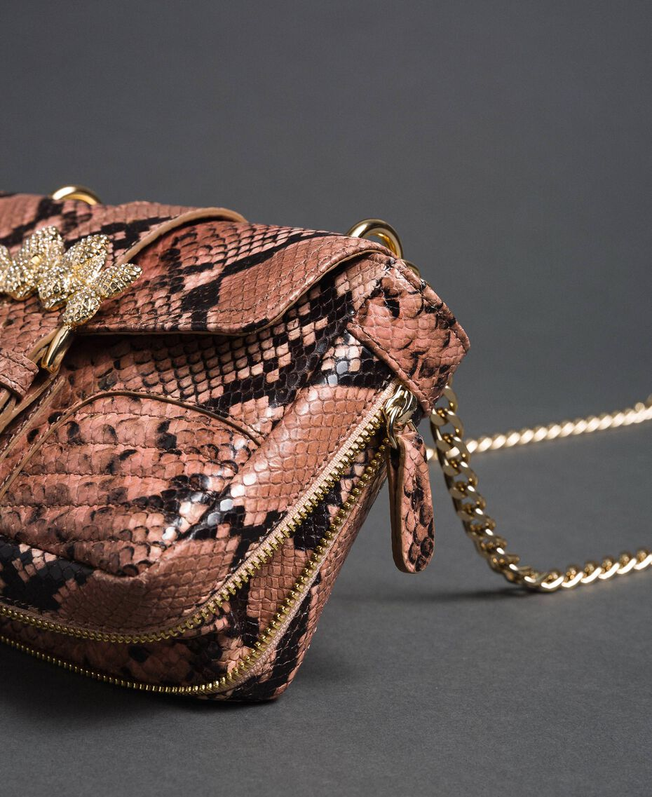 Small Rebel shoulder bag with python print Mousse Pink Python Print Woman 192TA7231-02