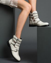 Leather biker boots with straps and studs White Snow Woman 192TCP01U-0S