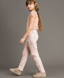Skinny bull trousers with ripped details Blossom Pink Child 191GJ2061-04
