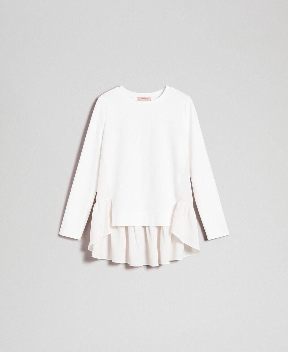 Bluse mit asymmetrischem Volant Weiß Schnee Frau 192TP2641-0S