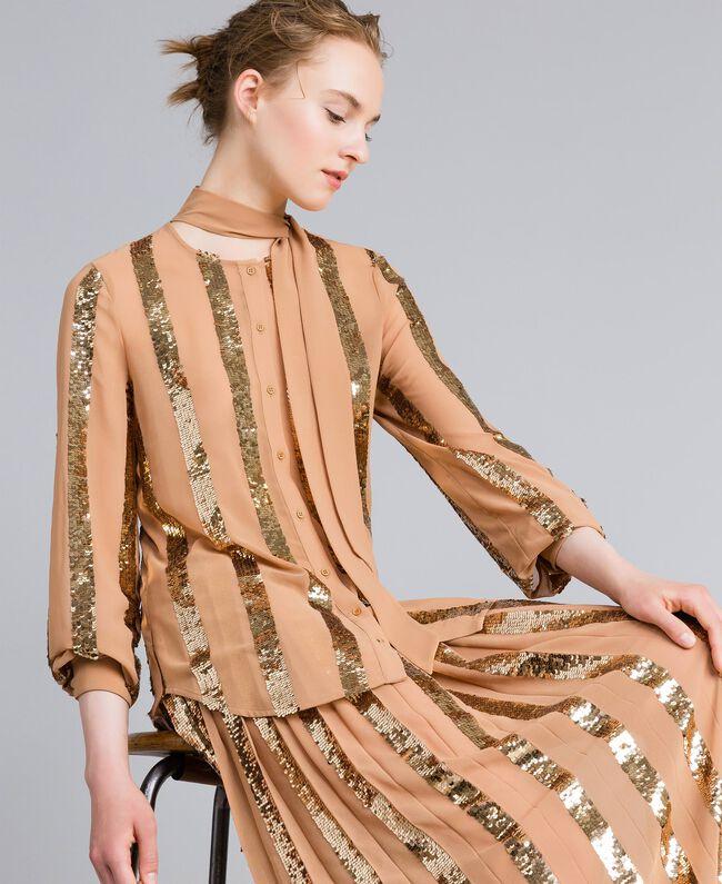 Camicia in georgette con paillettes Camel Donna PA82J2-03