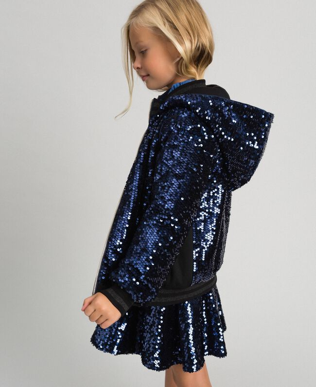 Bomber in velluto con paillettes Blue Night Bambina 192GJ2090-01