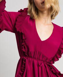 Kleid aus Crêpe de Chine aus Seidenmischung Rote-Bete-Rot Frau 192TP2102-03