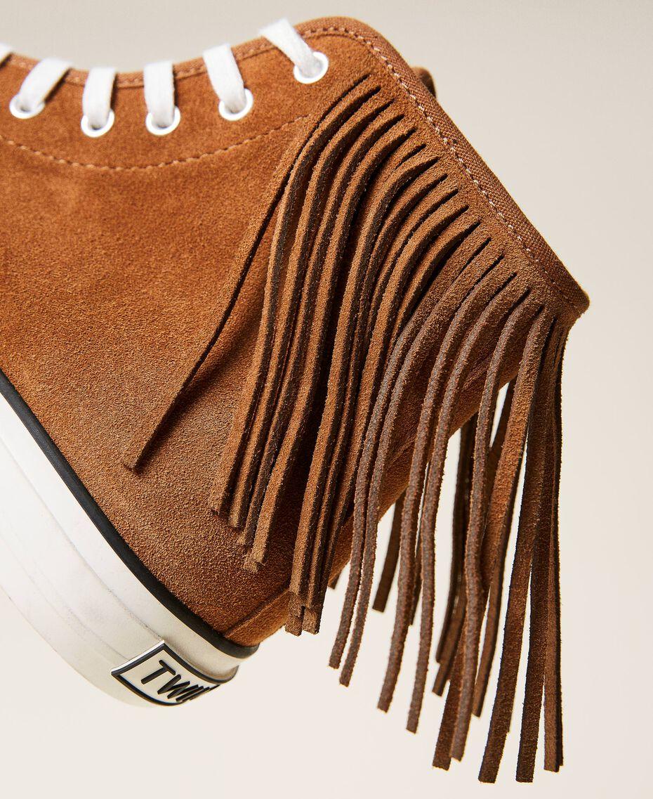 Ledersneaker mit Fransen Leder Frau 212TCP100-02