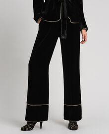 Pantaloni a palazzo in velluto Nero Donna 192TT2425-02