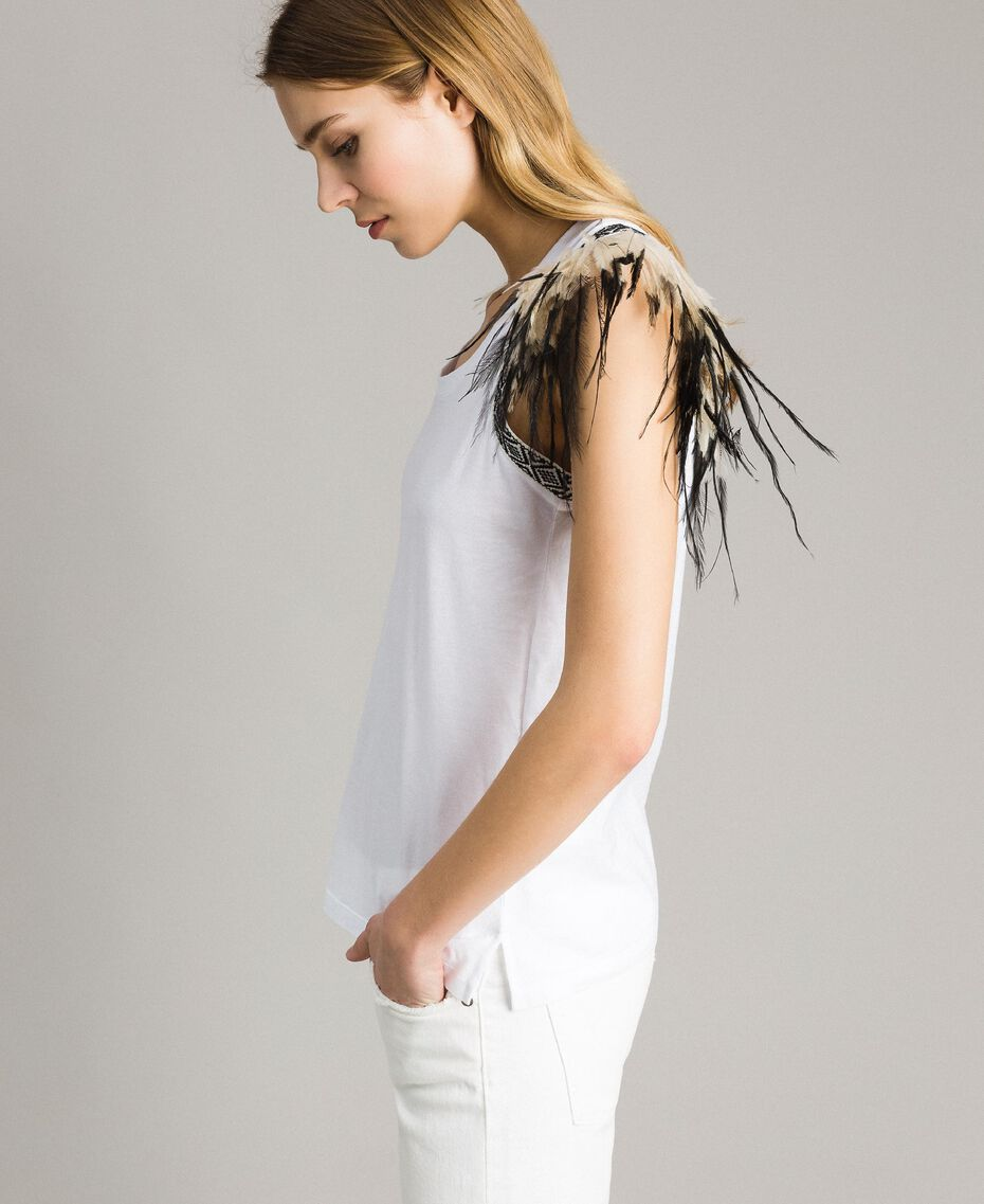 Tank top with removable fadeout feathers White Woman 191TT2205-02