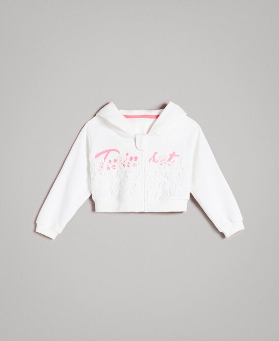Stretch cotton cropped sweatshirt