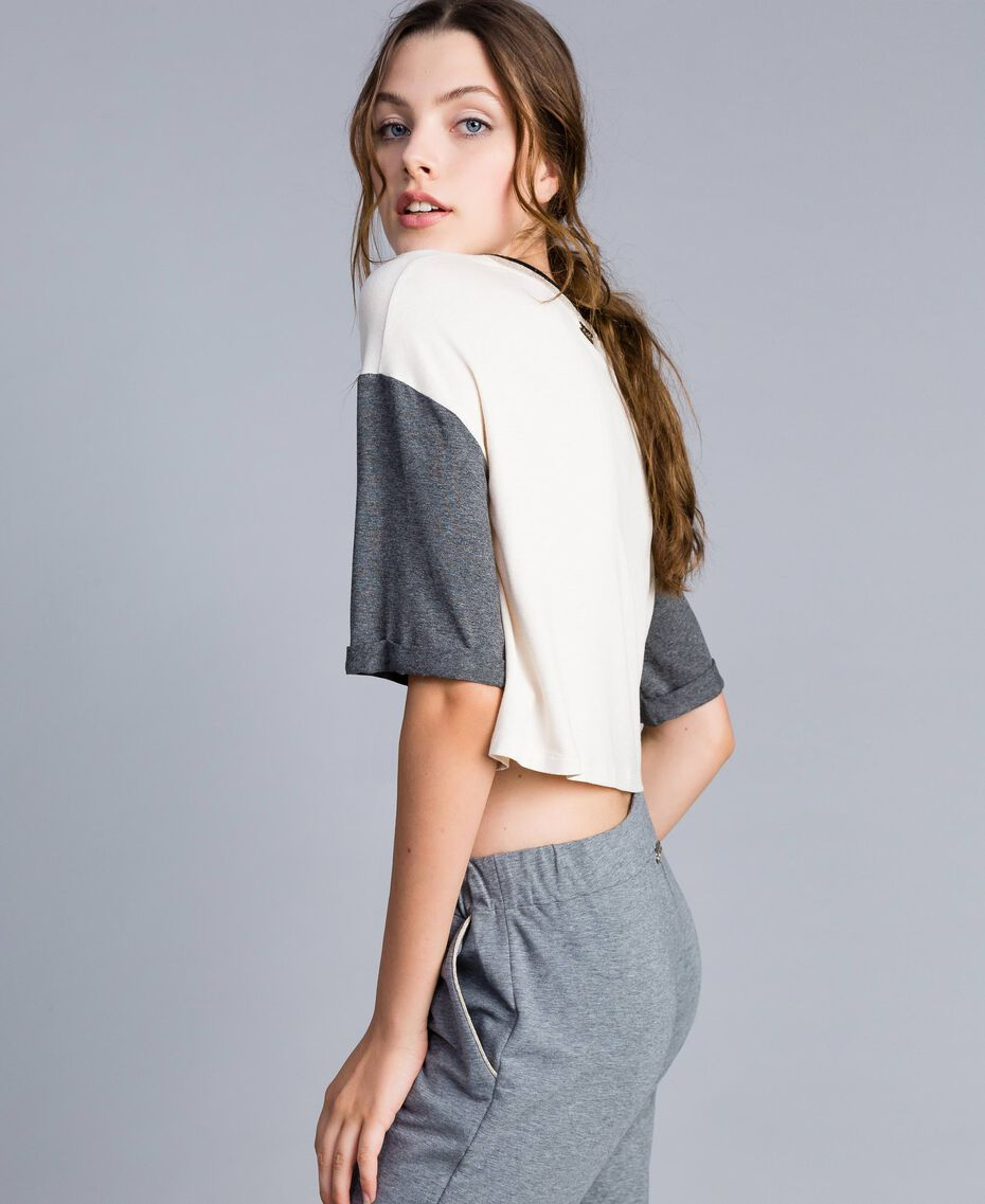 T-shirt cropped in jersey Bicolor Blanc / Grigio Melange Donna IA81JJ-01