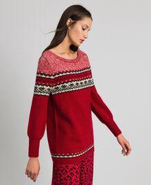 Maxi pull en mélange de laine et mohair jacquard Rouge Ardent Femme 192LL3AHH-02
