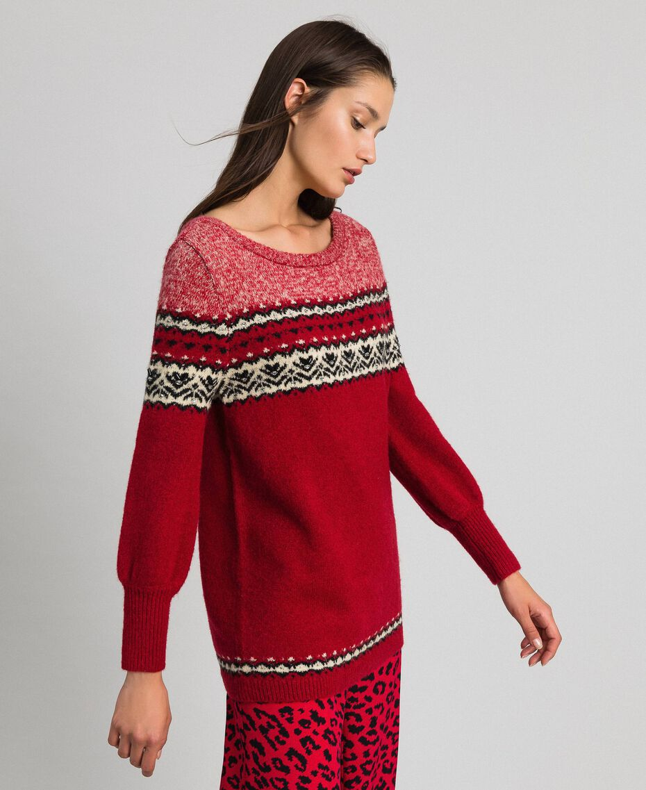 Mohair jacquard wool blend maxi jumper Burning Red Woman 192LL3AHH-02