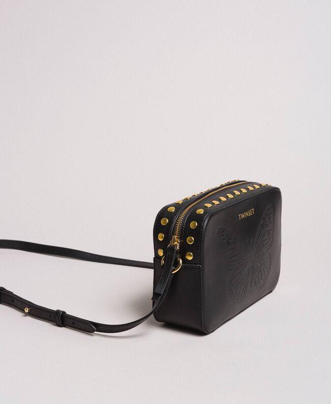 Umhängetasche aus Leder mit Nieten Schwarz Frau 191TO8262-01