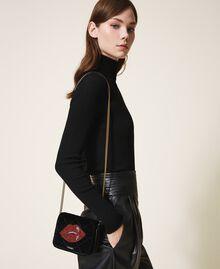 Velvet shoulder bag with patch Black Woman 202TD8280-0T