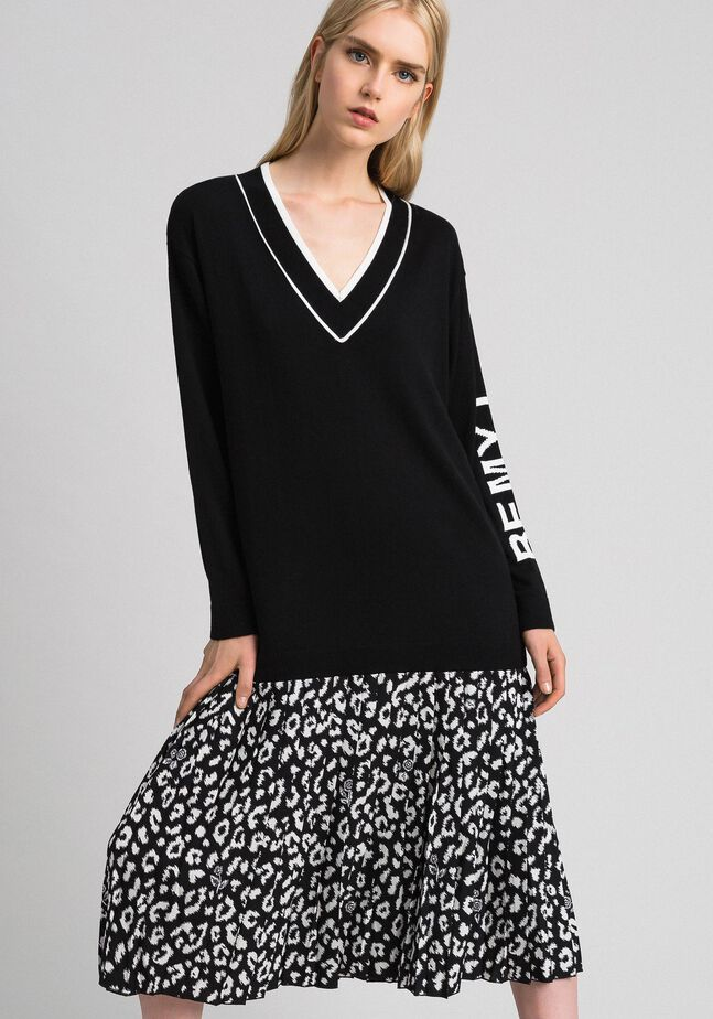 Animal print inlay knit dress
