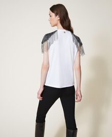 T-shirt avec tulle brodé et franges Blanc Femme 202TT246A-03