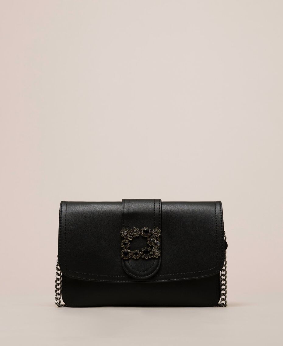 Faux leather pochette with decorative buckle Black Woman 201MO8121-02