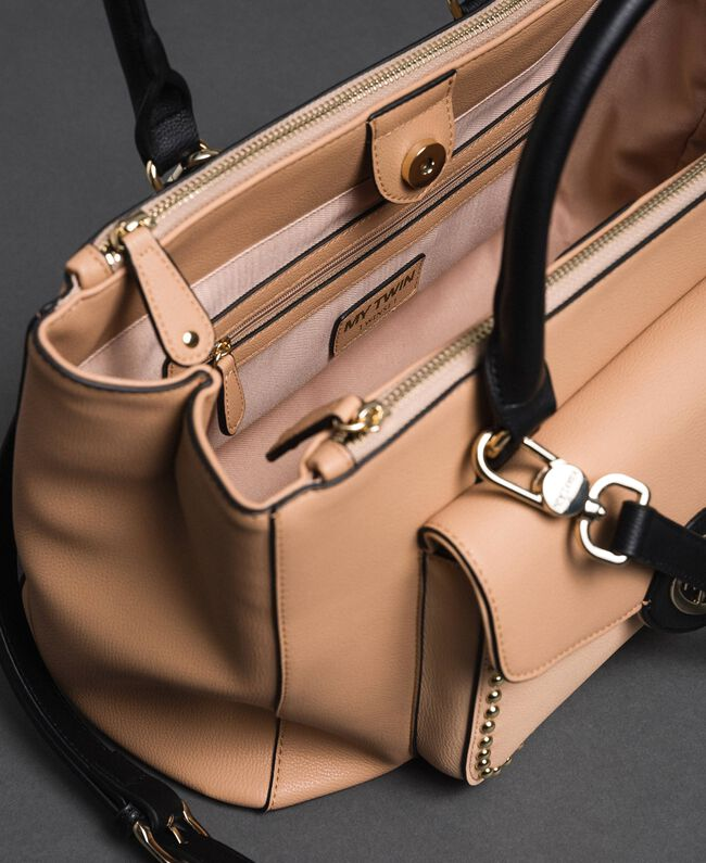 Two-tone faux leather shopper Irish Cream / Blossom Pink Woman 192MA7100-04