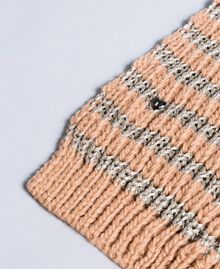 "Knitted scarf with lurex ""Nude"" Pink / Pink Gold Stripe Woman VA8P2A-02"