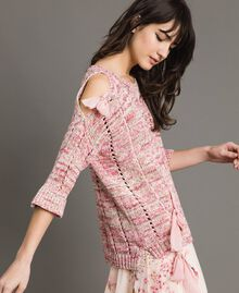 Openwork top with ribbons Multicolour Pink Pattern Woman 191TP3281-02