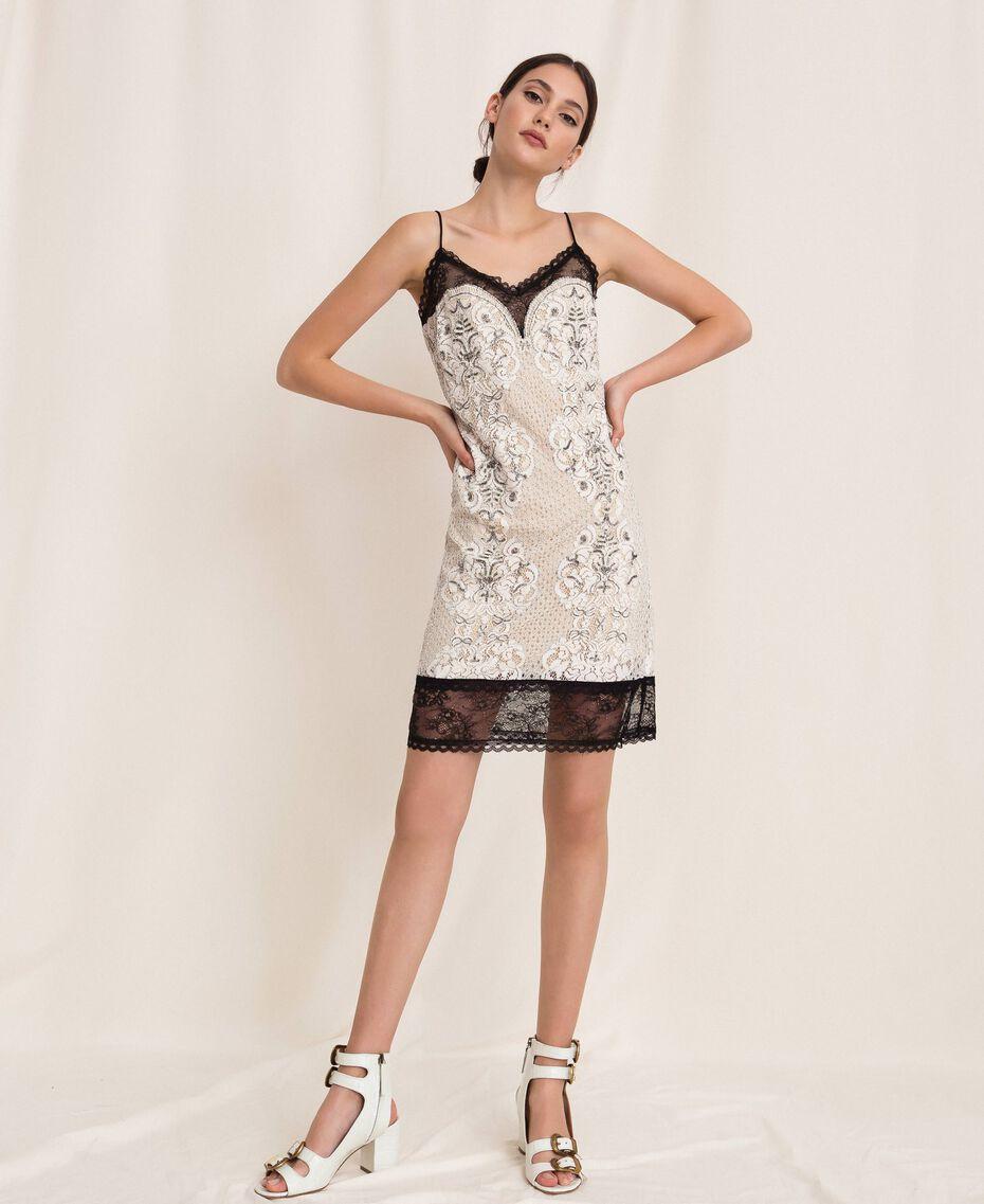 Кружевное платье-комбинация с вышивками Слоновая кость женщина 201TP2463-0T