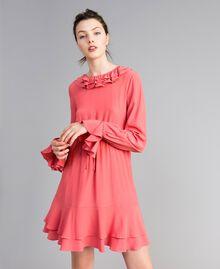 Kurzes Kleid aus Seidenmischung Royal Pink Rosa Frau PA827A-01