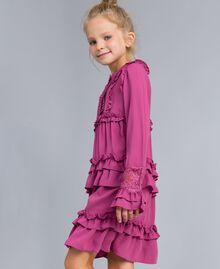 Georgette flounced dress Pink Bouganville Child GA82HA-02