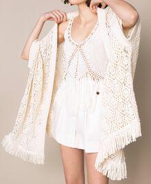 Cardigan poncho en crochet avec franges Blanc Antique White Femme 201TT3101-04