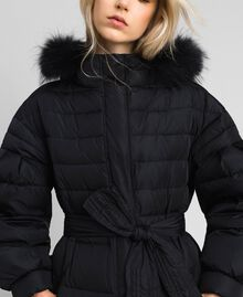 Long quilted padded jacket with real down Black Woman 192TT2173-02