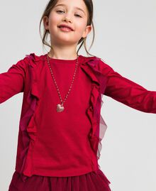 T-shirt with tulle flounces and necklace Ruby Wine Red Child 192GJ2433-01