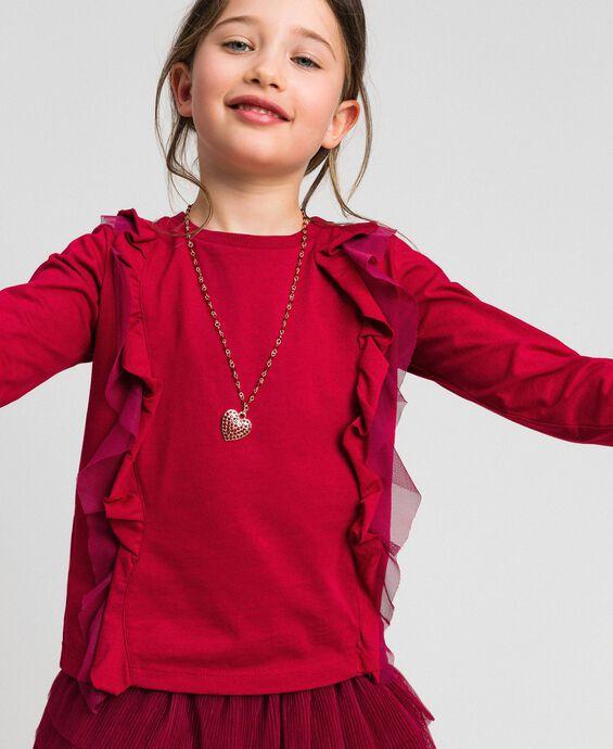 T-shirt avec volant en tulle et collier
