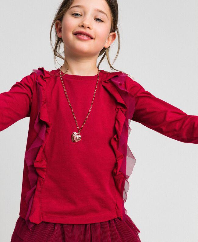 T-shirt con volant in tulle e collana Rosso Ruby Wine Bambina 192GJ2433-01