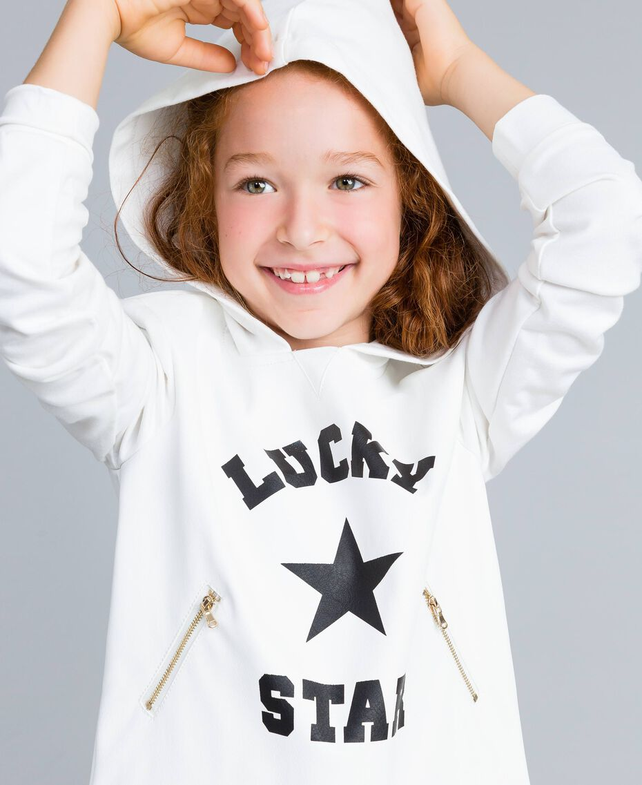 Sweat en similicuir et point de Milan Off White Enfant GA82LV-0S