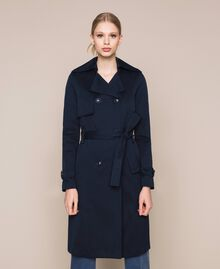 Water repellent double breasted trench coat Midnight Blue Woman 201TQ2012-05
