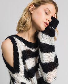"Striped mohair jumper Black / ""Papyrus"" White Stripe Woman 192TP3271-01"