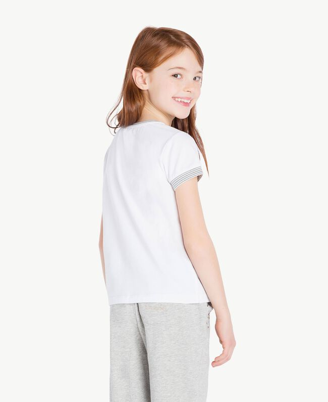 """Lace T-shirt Two-tone """"Papyrus"""" White / Chantilly Child GS82UP-04"""