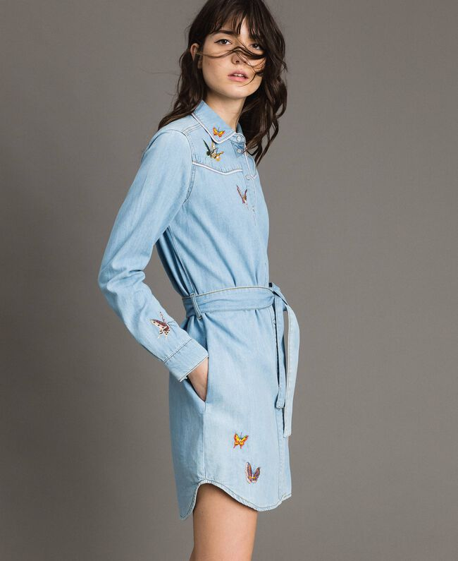 Denim shirt dress Light Denim Woman 191TP2534-01