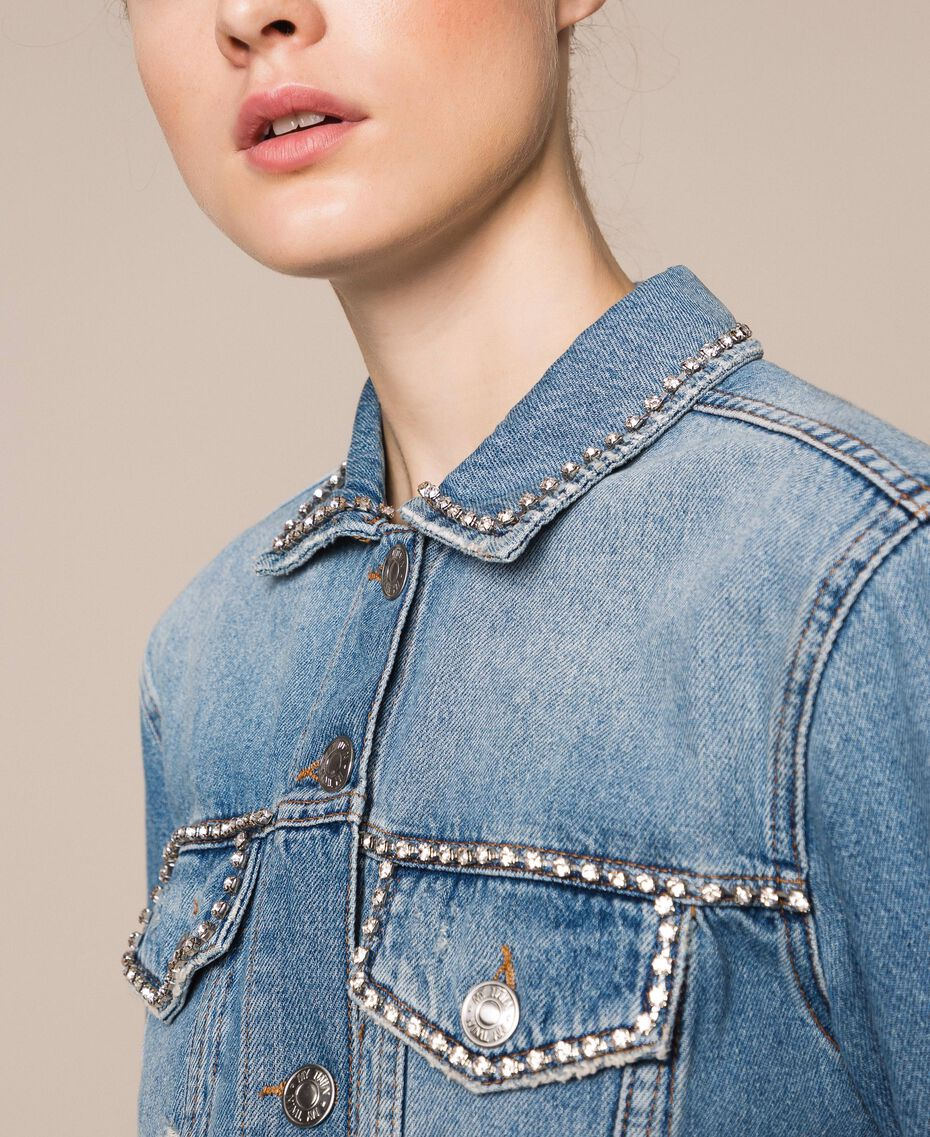 Denim jacket with rhinestones Denim Blue Woman 201MP2271-02