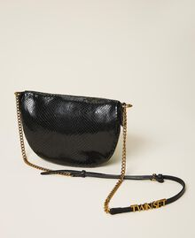 Sac à bandoulière en cuir animalier Imprimé Python Noir Femme 202TD8021-04