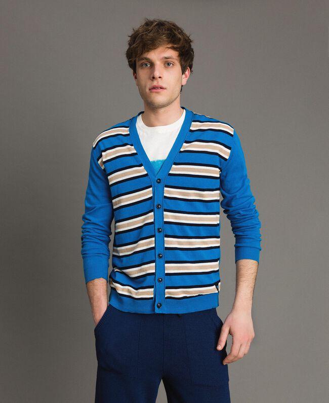 "Crêpe cotton striped cardigan Multicolour Bay Blue / ""Blackout"" Blau / Opaque White Man 191UT3032-01"