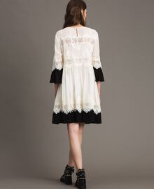 "Georgette dress with lace Bicolour ""Snow"" White / Black Woman 191TT2102-04"