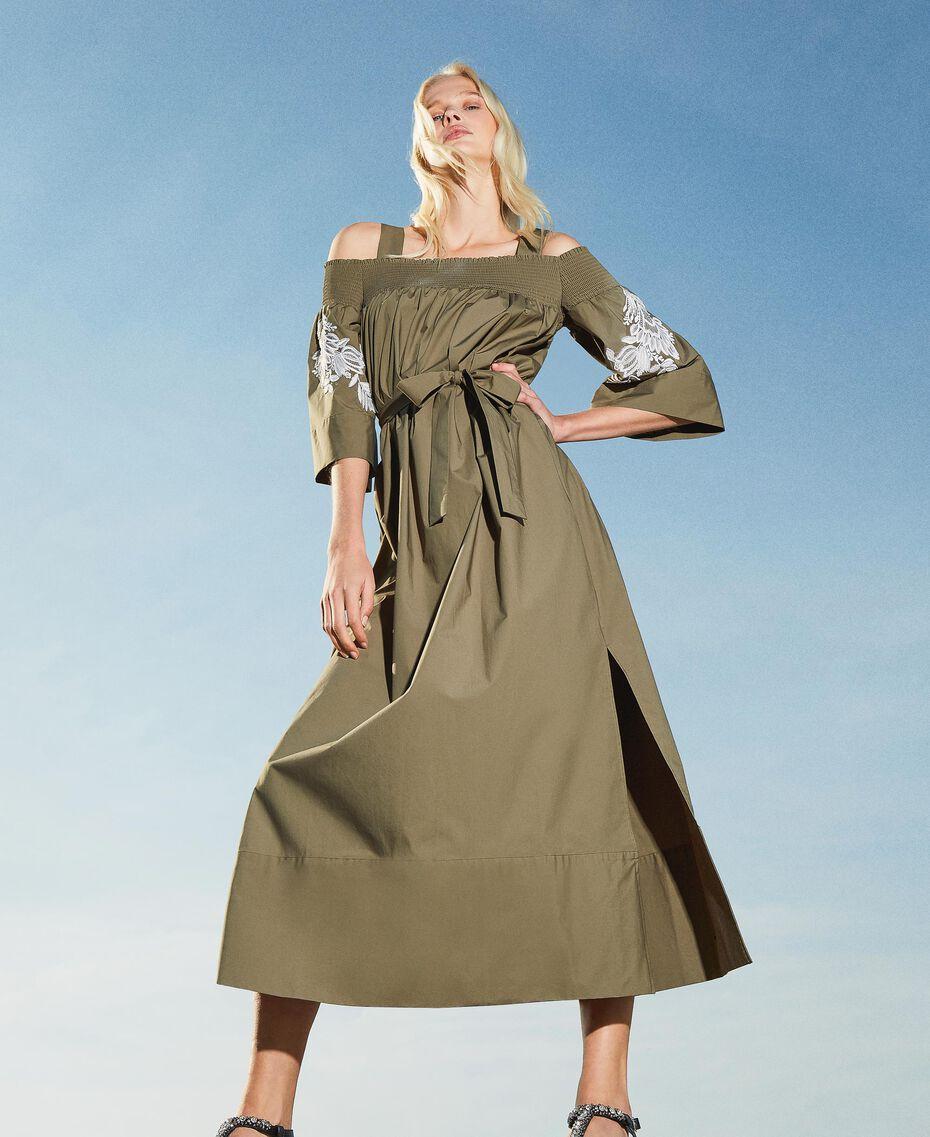 Off-shoulder poplin dress with embroidery Black Woman 211TT2475-01