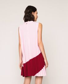 "Pleated crêpe de Chine dress Two-tone ""Crimson"" Red / ""Candy"" Pink Woman 201ST2011-04"