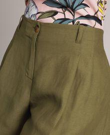 """Linen shorts """"Olive"""" Green Woman 191TT2309-04"""