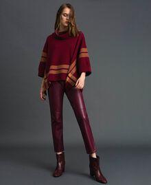 Pantalon cigarette en similicuir Rouge Violet Femme 192LI2EBB-01