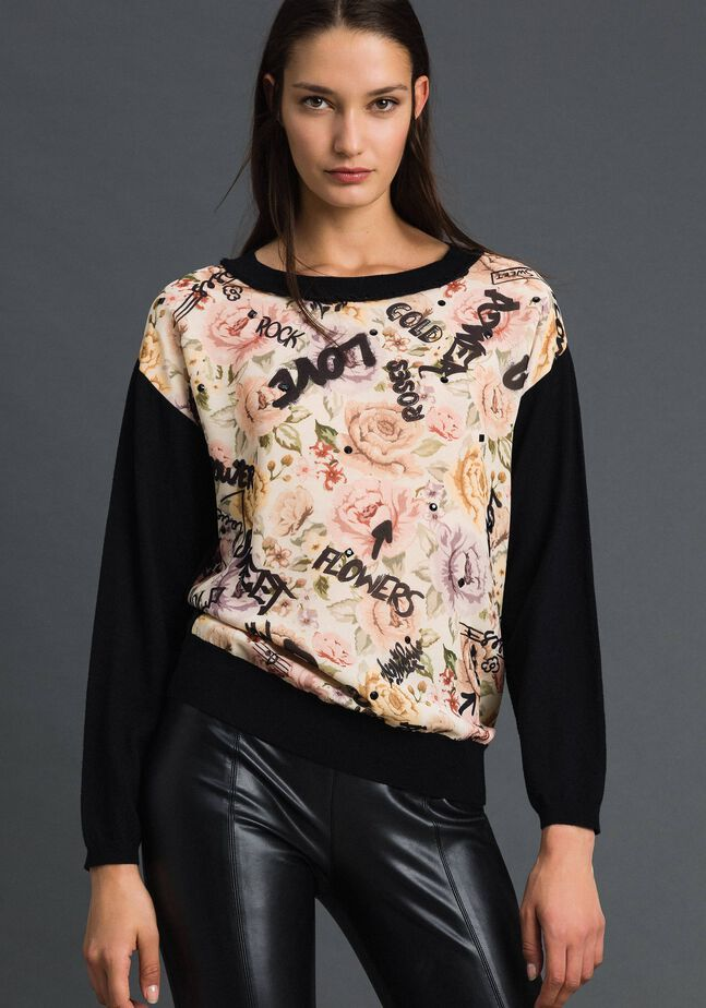 Floral and graffiti print jumper with rhinestones