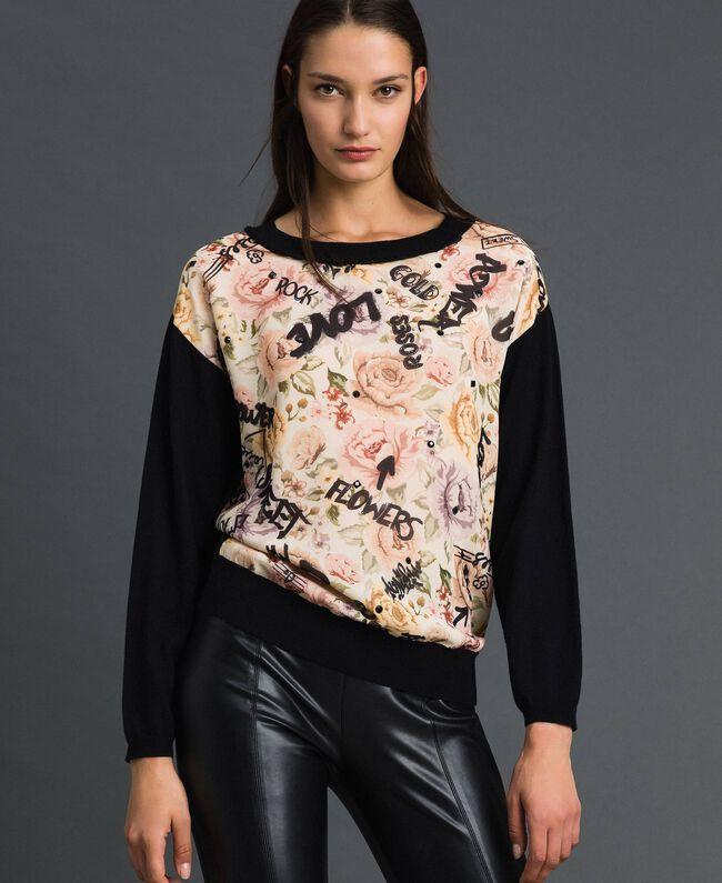 Pullover mit Blumen-Graffiti-Print und Strass Print Flow / Graffiti Vanille Frau 192MP3020-01