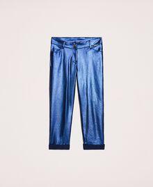 Hose mit schimmernder Beschichtung Irisierender Metallic-Print Nachtblau Kind 201GJ202H-0S