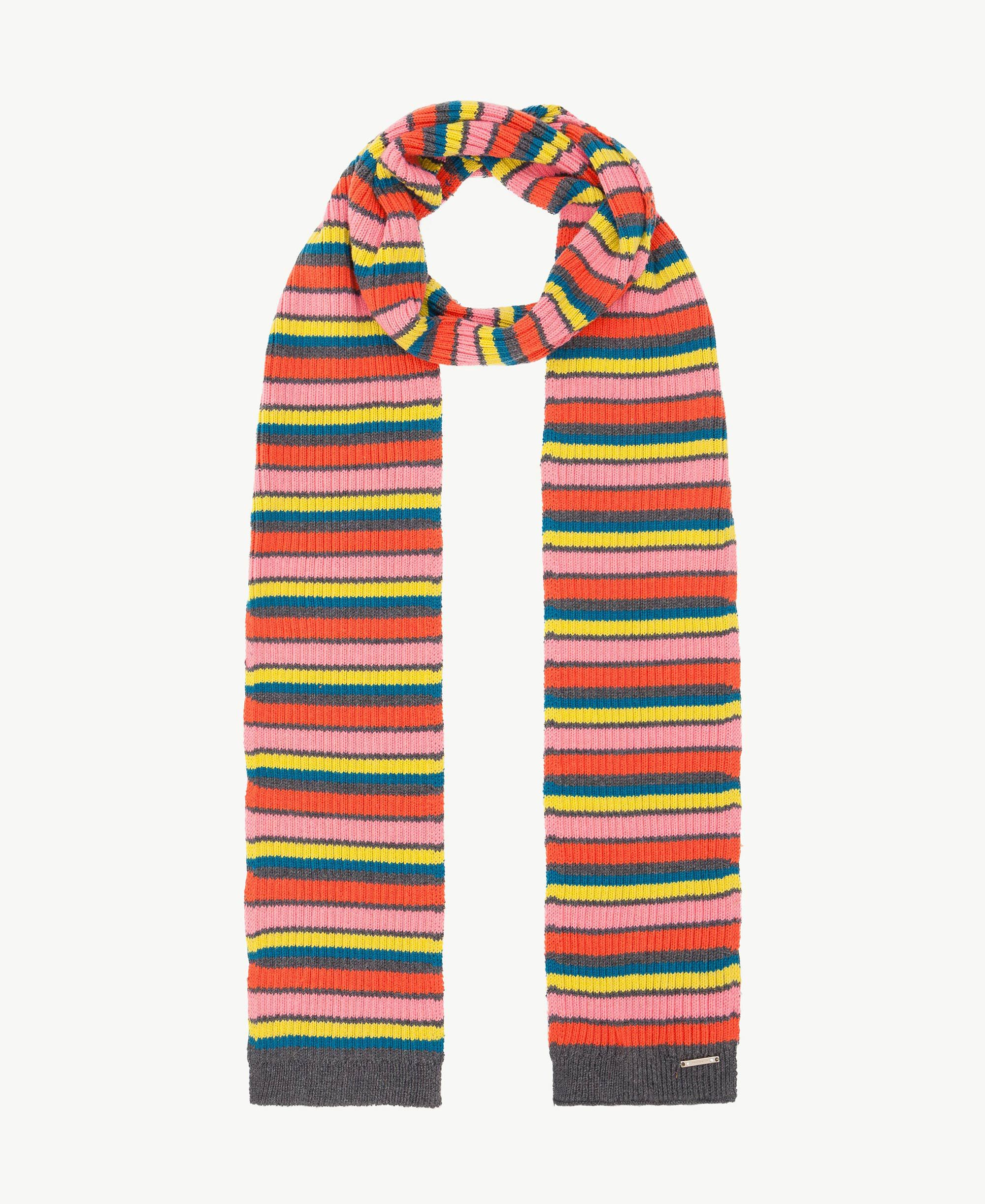 Multicoloured Knitted Stripey Scarf