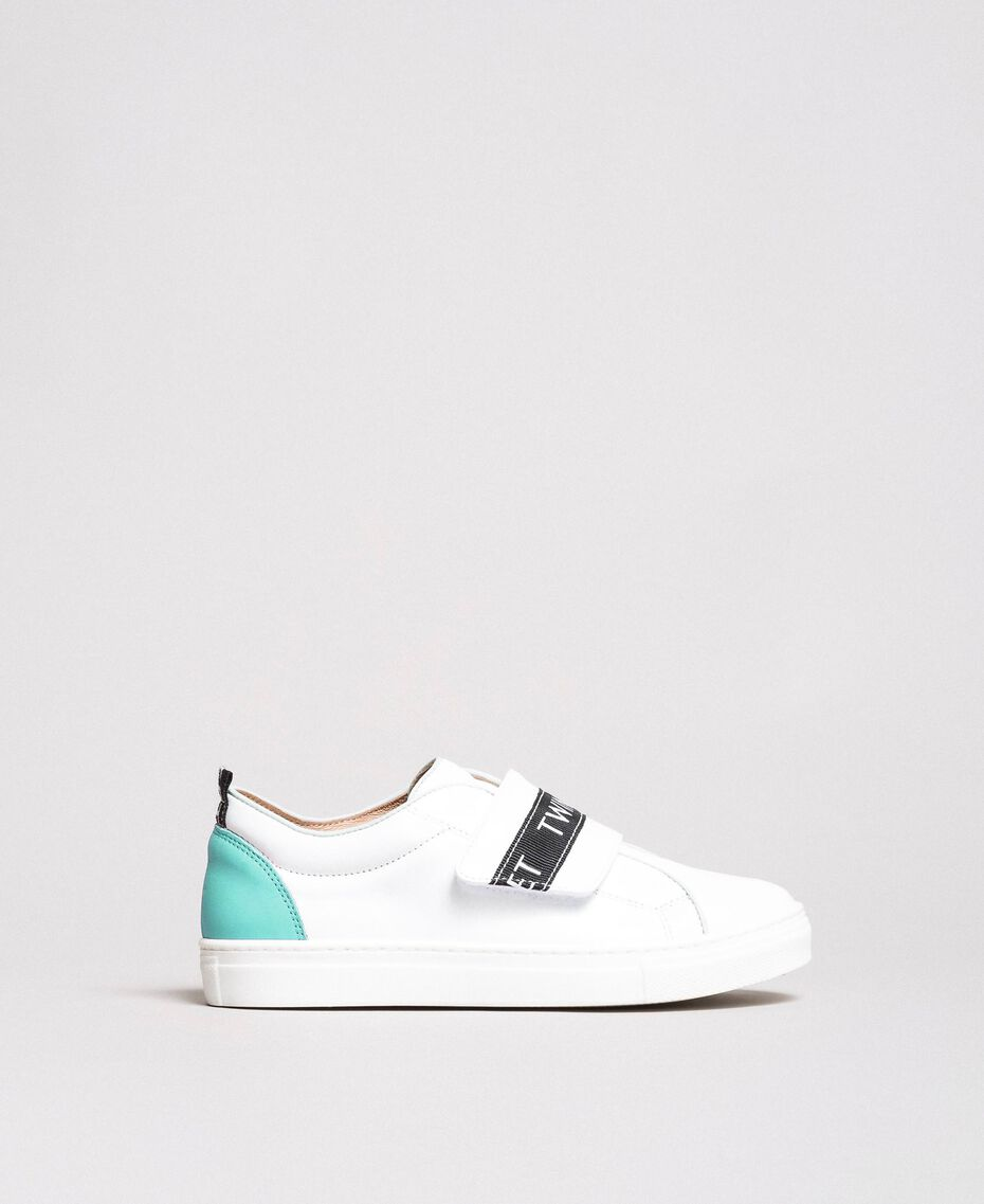 """Leather sneakers with logo """"Island Paradise"""" Light Blue Child 191GCJ034-02"""