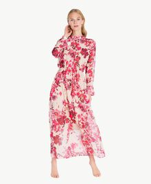 "Printed long dress ""Love Bites"" Fuchsia Flowers Print IA7KLL-02"